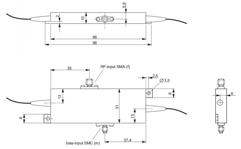 Amplitude modulator case with separated bias input (AMXXXb)